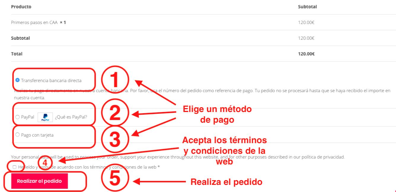 13.Metodo de pago y realizar el pedido